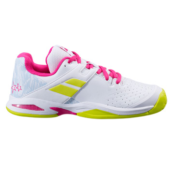 Babolat Propulse All Court Junior Tennis Shoes (White-Red Rose)