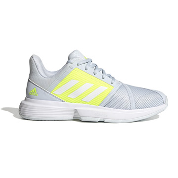 Adidas CourtJam Bounce Womens Tennis Shoes (Halo Blue-White-Solar Yellow)