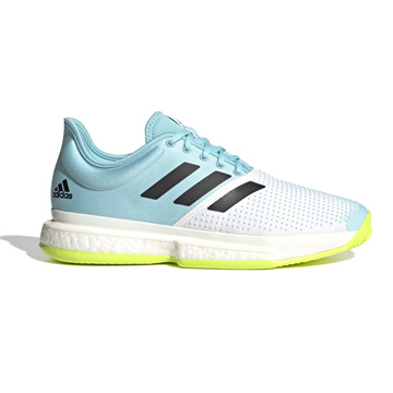 Adidas Solecourt Primeblue Mens Tennis Shoes (White-Core Black/Solar Yellow)