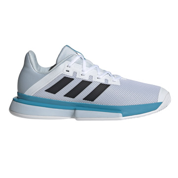Adidas Solematch Bounce Mens Tennis Shoes (White-Core Black-Halo Blue)