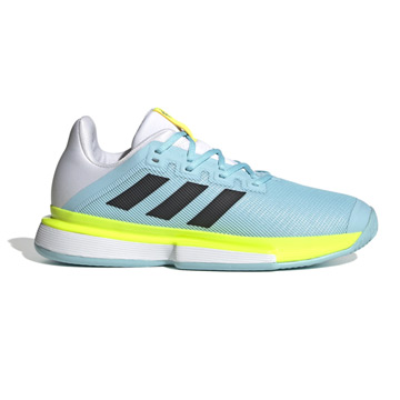 Adidas Solematch Bounce Mens Tennis Shoes (Hazy Sky-Core Black-Solar Yellow)